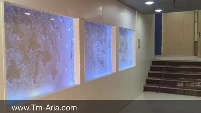 حباب نما، آبنمای شیشه ای مدرن، در فضای داخلی