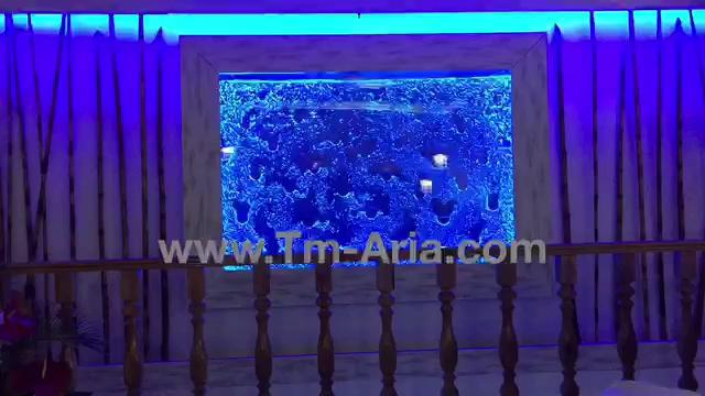 طراحی و اجرا آب نمای حبابی ، آبنمای شیشه ای، آبنمای شیشه ای مدرن در رستوران