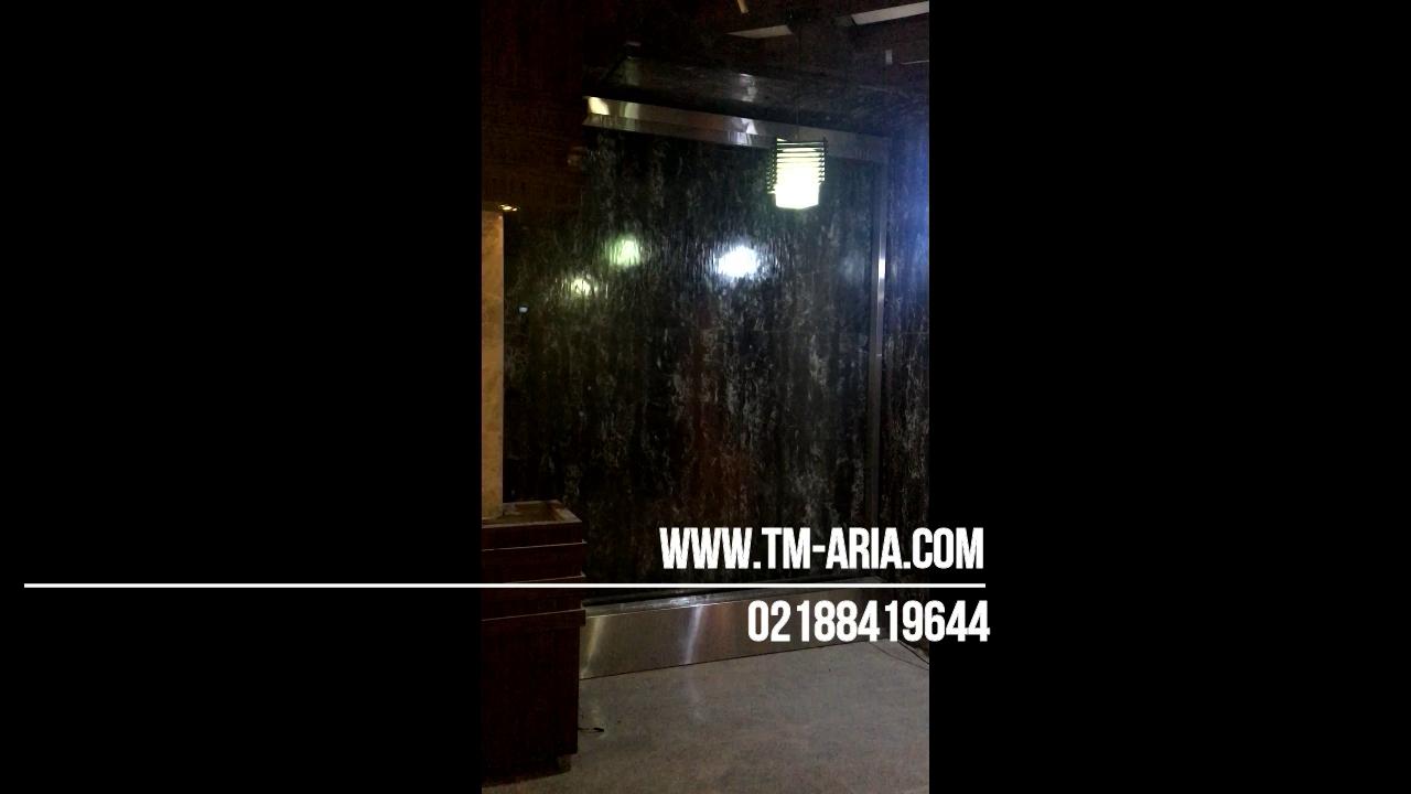 طراحی آبنما شیشه ای،آبشار شیشه ای، ابنما دیواری شیشه ای در لابی مسکونی