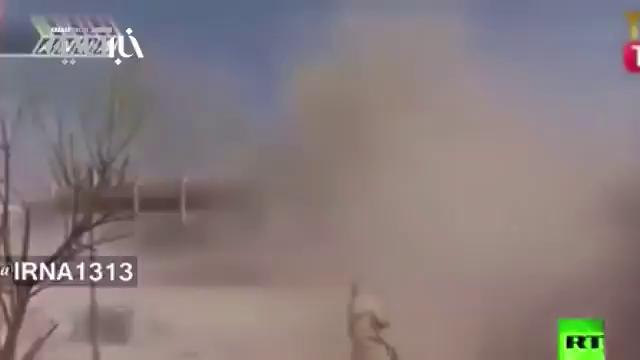 رو در رویی تانک ارتش سوریه با آرپی جی زن داعش
