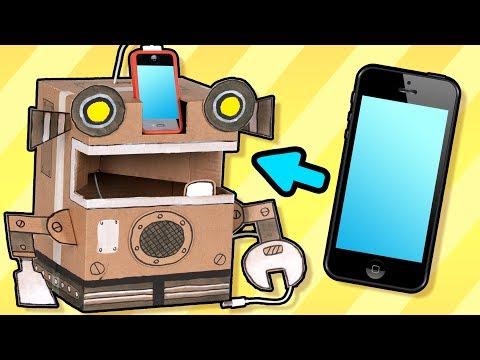 برنامه جعبه کاردستی در سایت جعبه-ساختن ربات موبایل شارژکن با کارتن-کارتون جعبه کاردستی