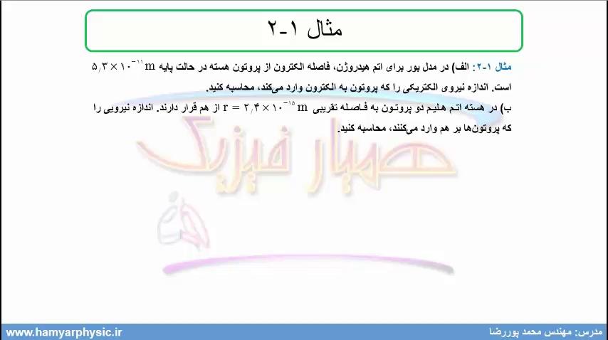 جلسه 11 فیزیک یازدهم- قانون کولن 2- مدرس محمد پوررضا